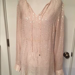 W BY WORTH BLOUSE TOP PINK SILVER TUNIC P XS S